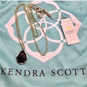Kendra Scott Black Glass Kiri necklace in Gold